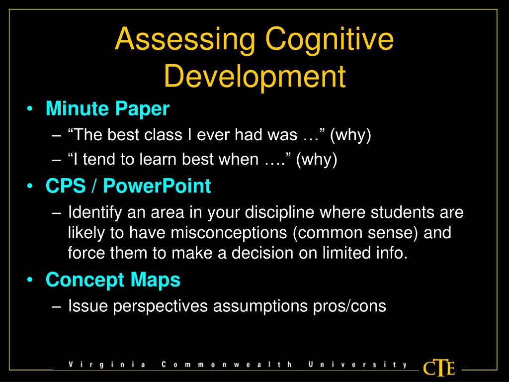 Assessing Cognitive Development