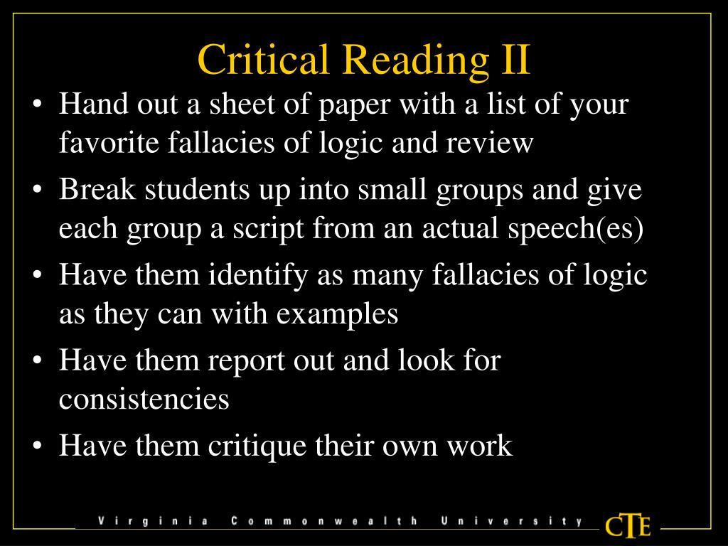 Critical Reading II
