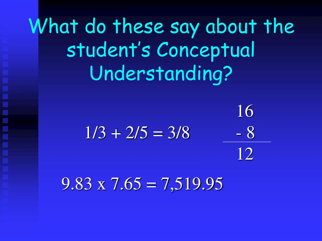 What do these say about the student's Conceptual Understanding?
