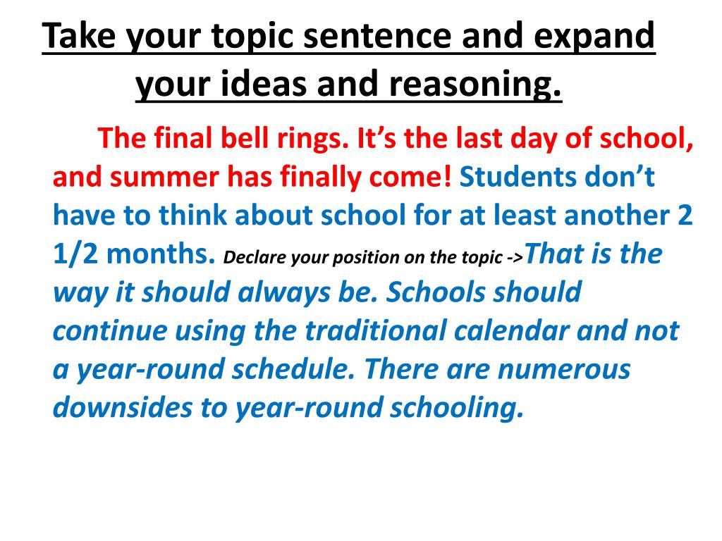Take your topic sentence and expand your ideas and reasoning.