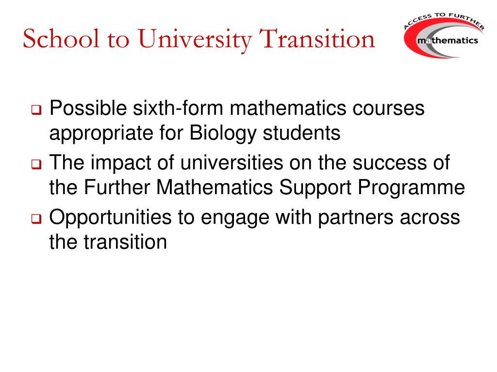School to University Transition