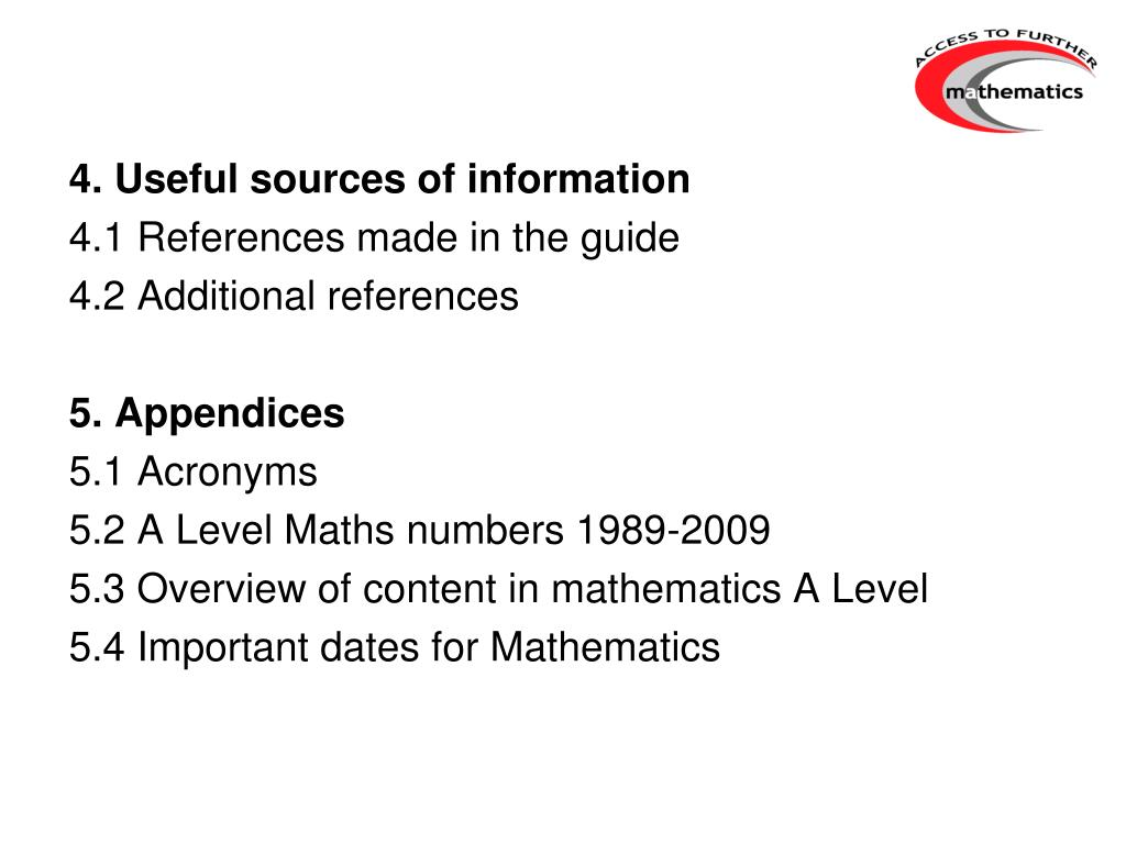 4. Useful sources of information