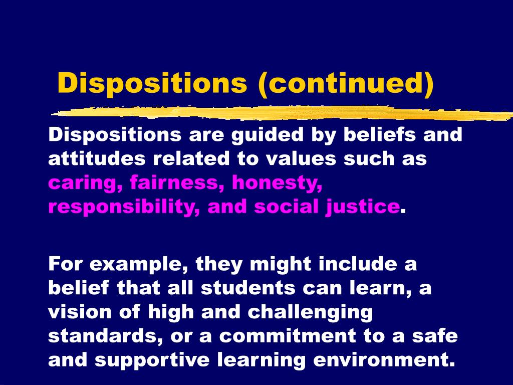 Dispositions (continued)