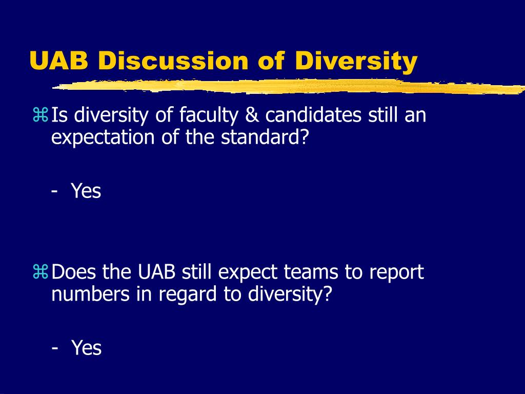 UAB Discussion of Diversity