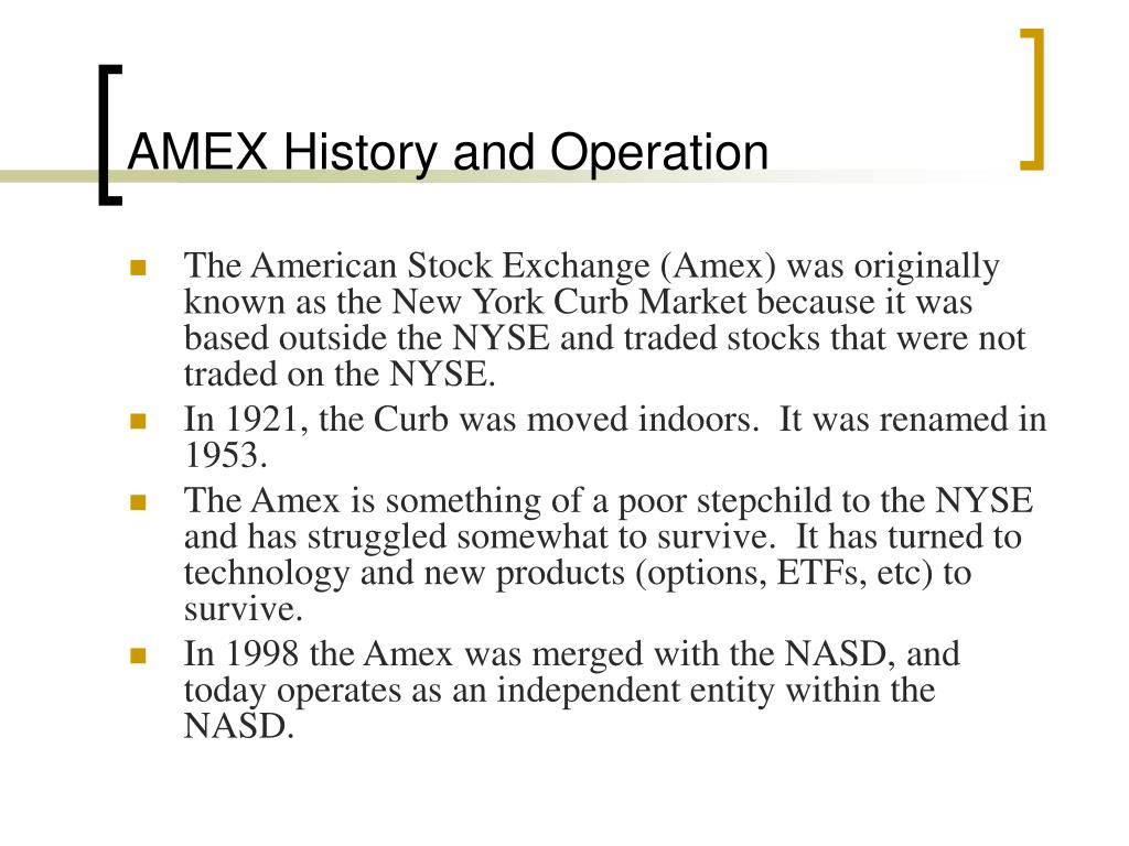 AMEX History and Operation