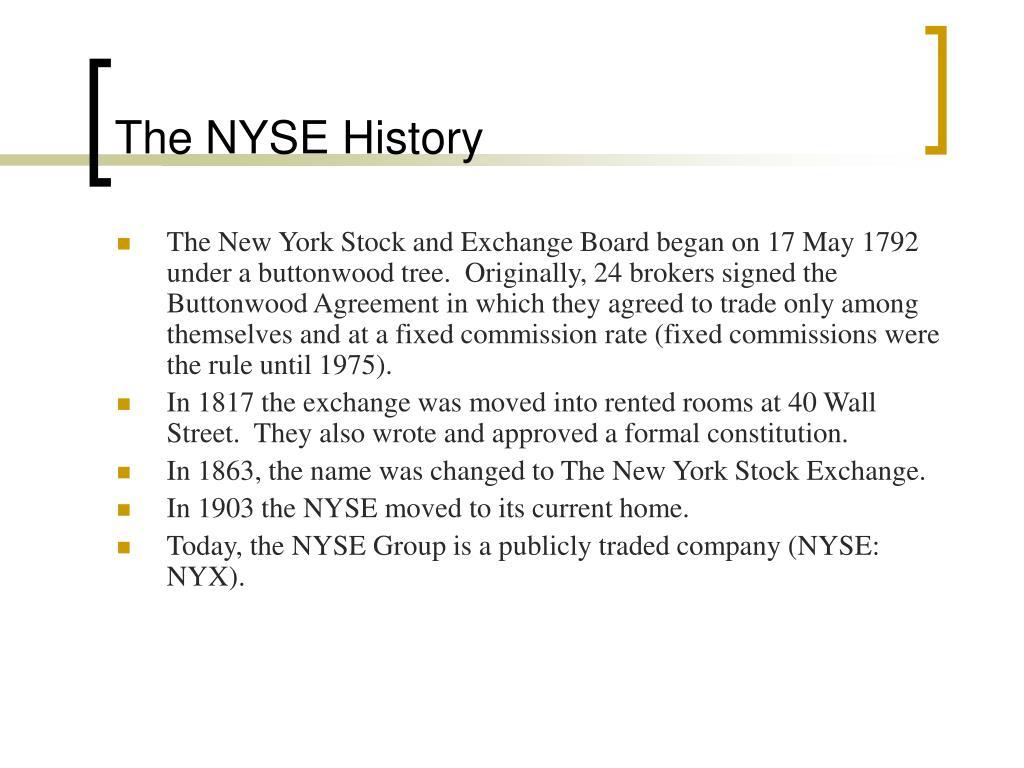 The NYSE History