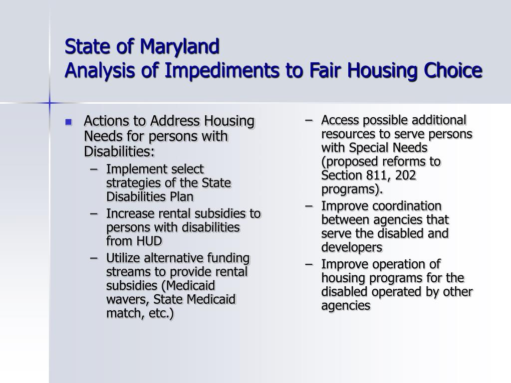 Actions to Address Housing Needs for persons with Disabilities: