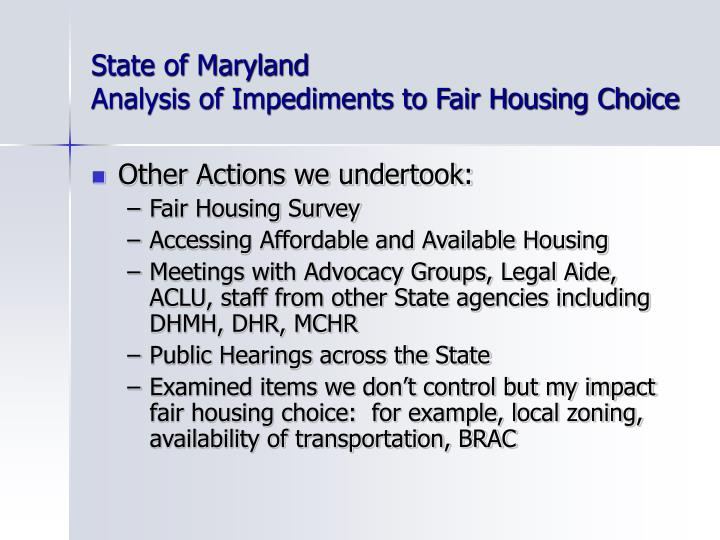 State of maryland analysis of impediments to fair housing choice3