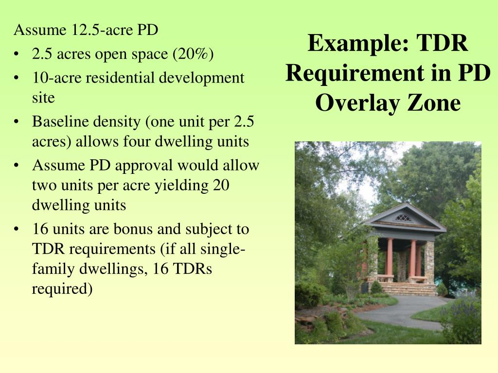 Example: TDR Requirement in PD Overlay Zone