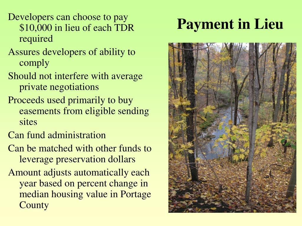Payment in Lieu