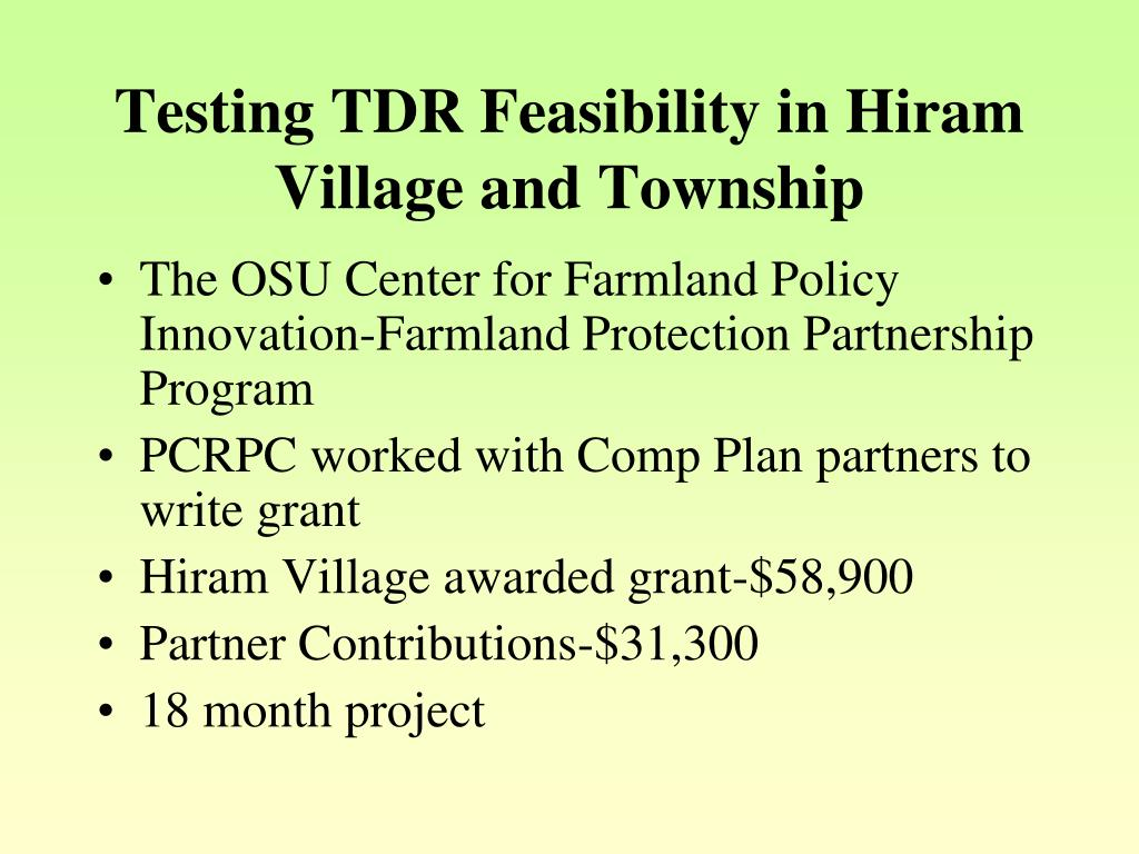 Testing TDR Feasibility in Hiram Village and Township