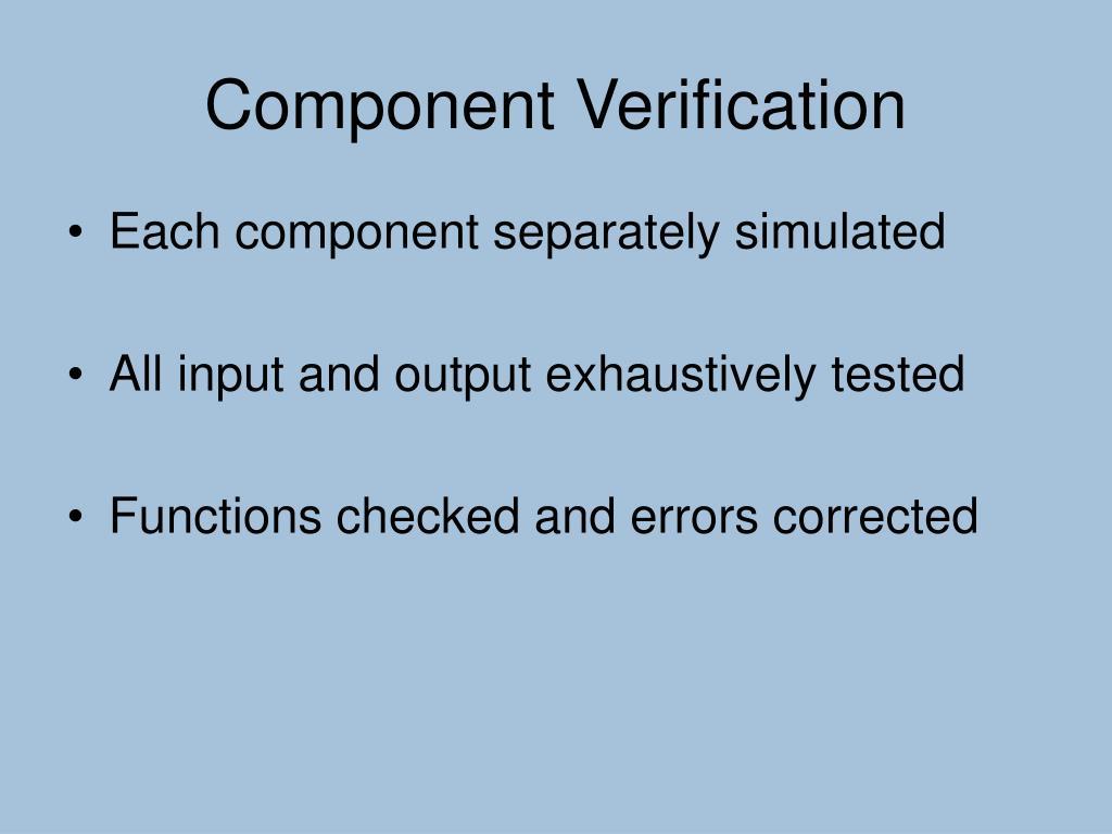 Component Verification