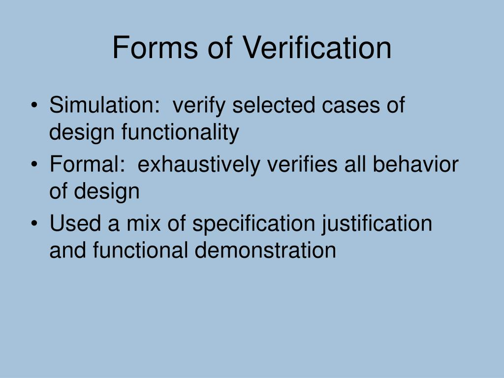 Forms of Verification