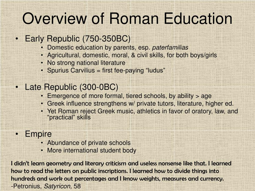 Overview of Roman Education