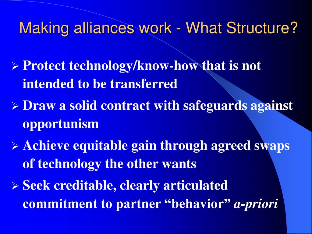 Making alliances work - What Structure?