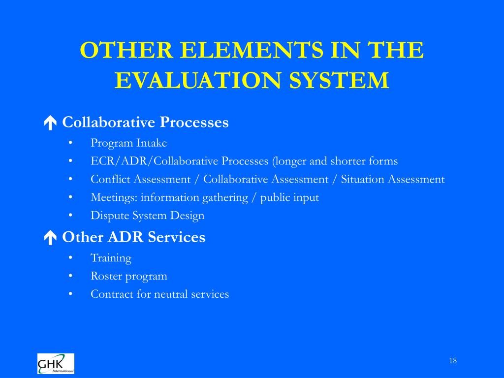 OTHER ELEMENTS IN THE EVALUATION SYSTEM