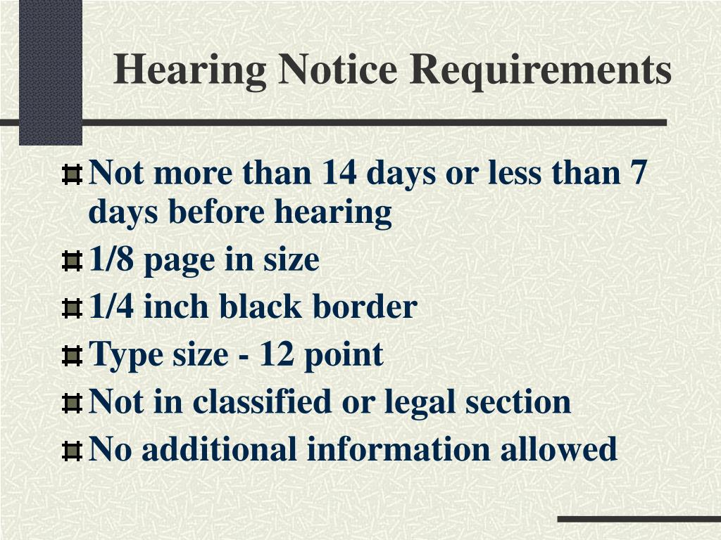Hearing Notice Requirements