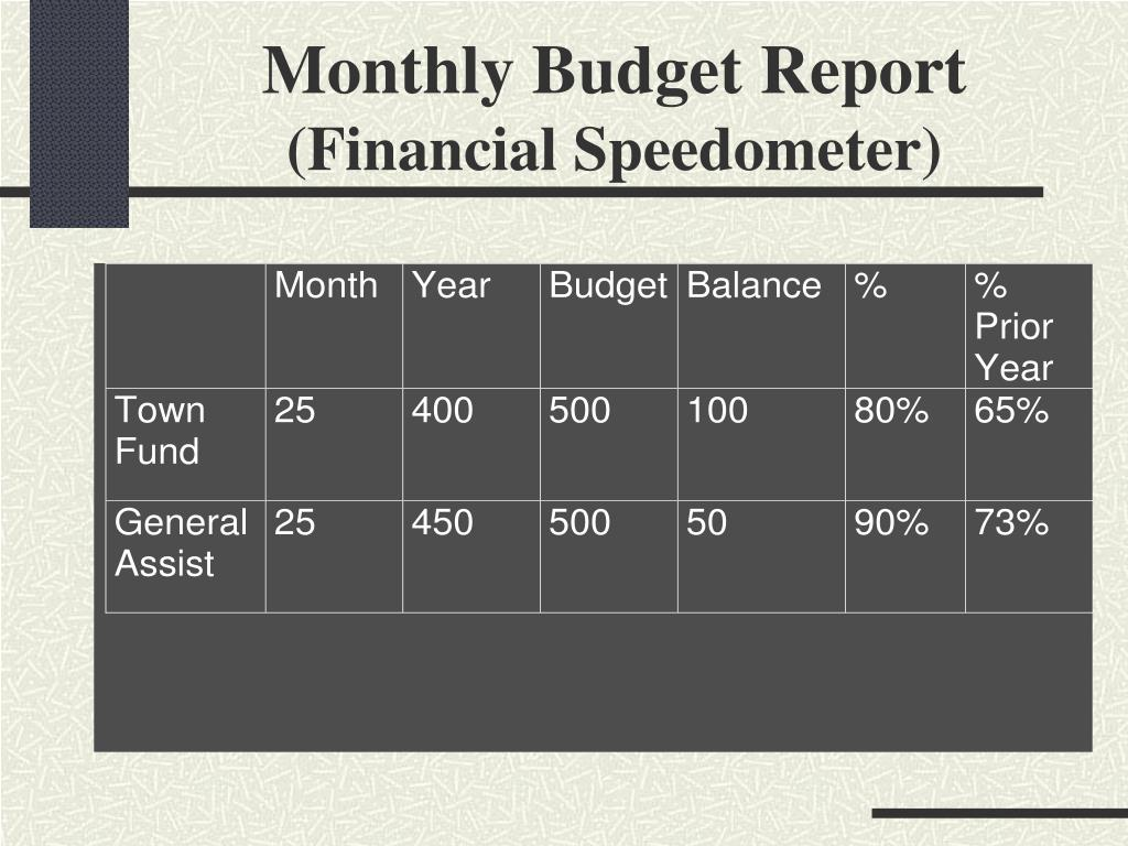 Monthly Budget Report