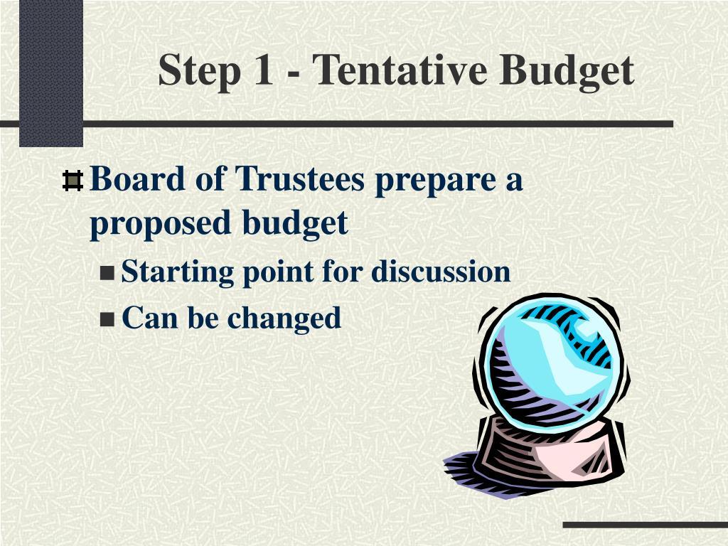 Step 1 - Tentative Budget