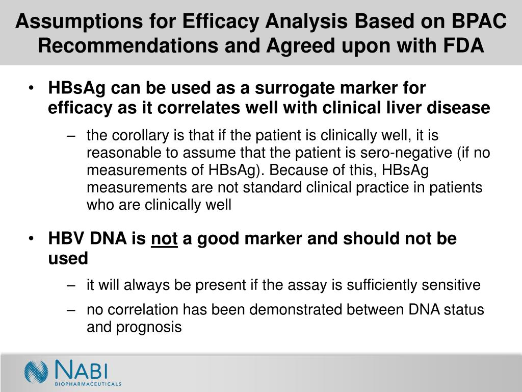 Assumptions for Efficacy Analysis Based on BPAC Recommendations and Agreed upon with FDA