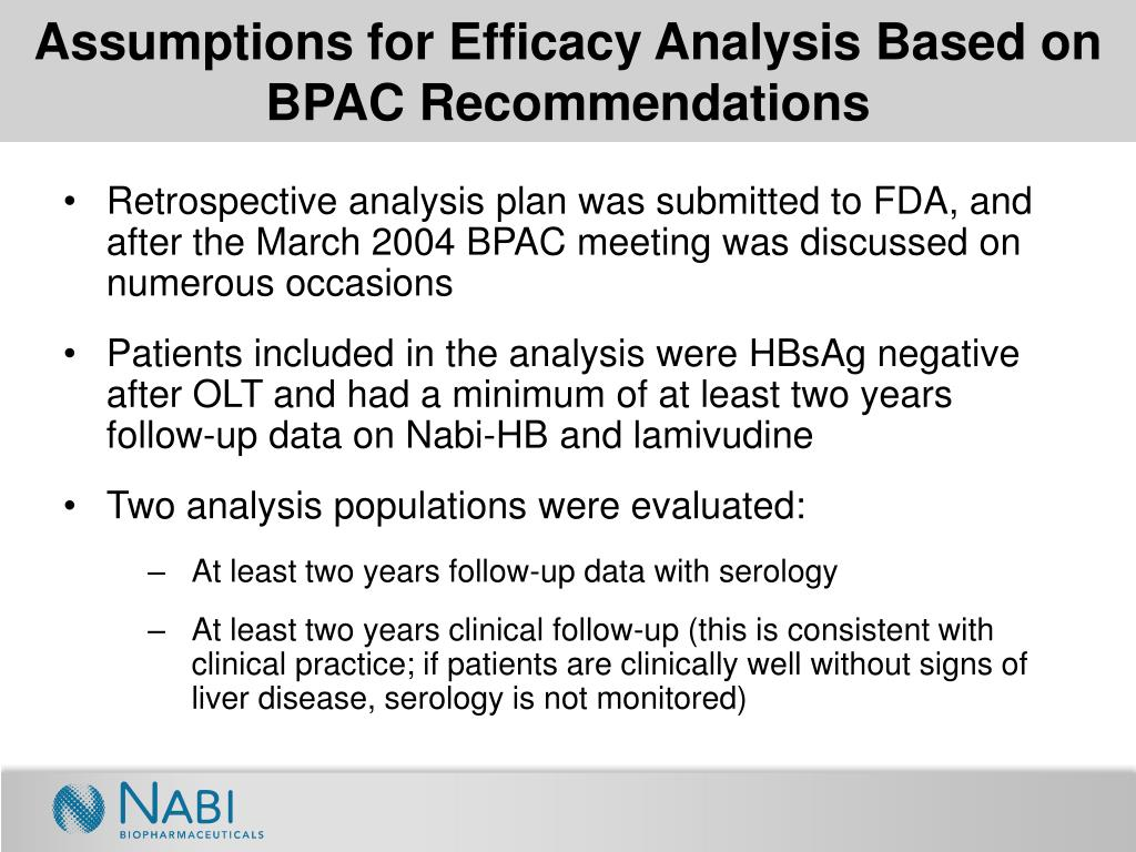 Assumptions for Efficacy Analysis Based on BPAC Recommendations