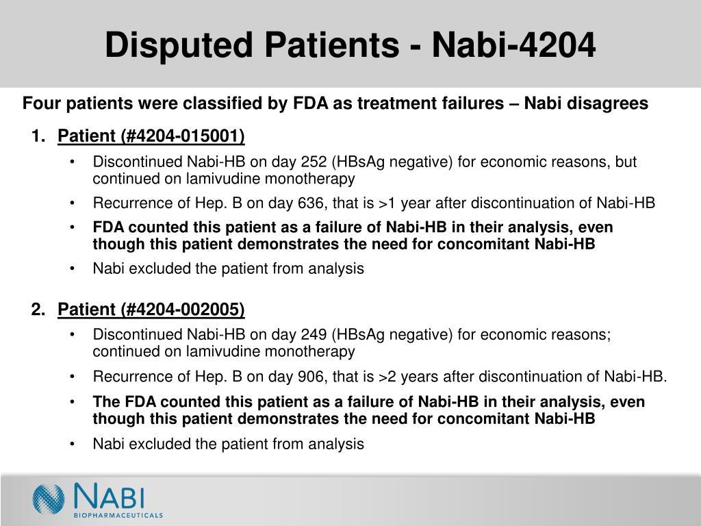 Disputed Patients - Nabi-4204