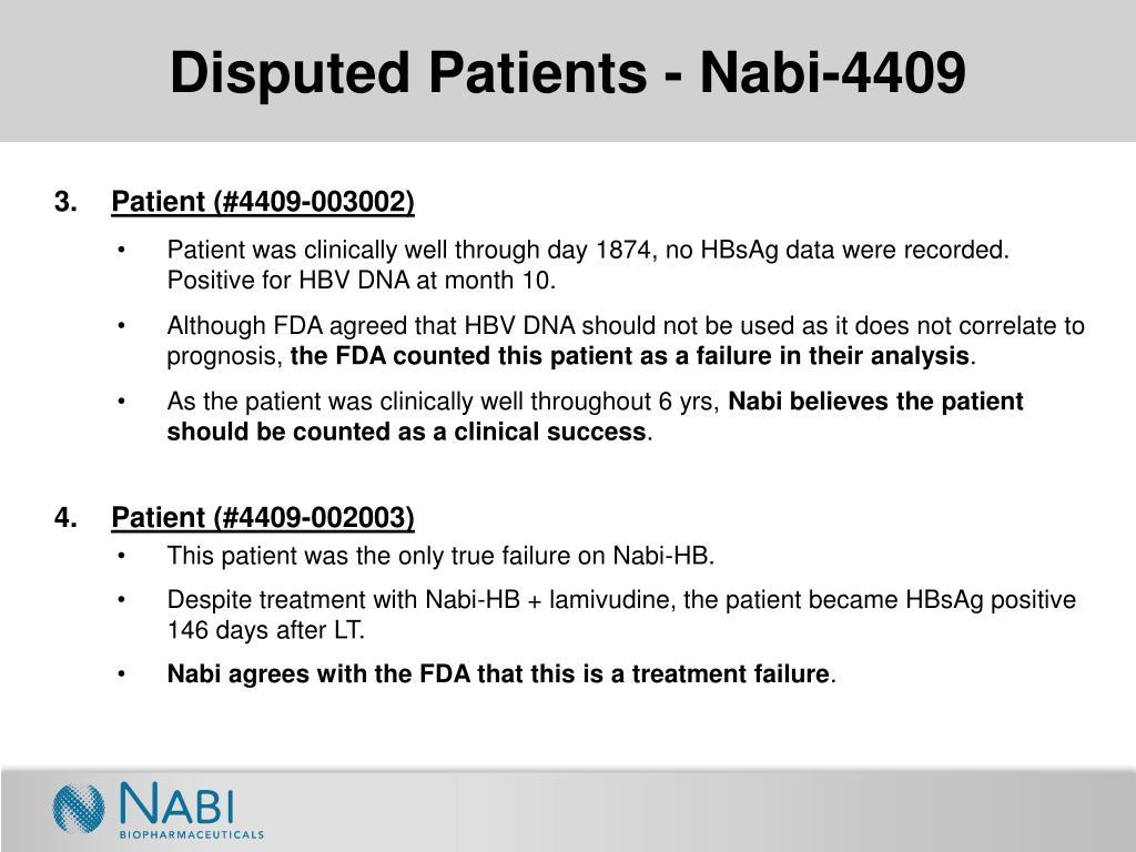 Disputed Patients - Nabi-4409
