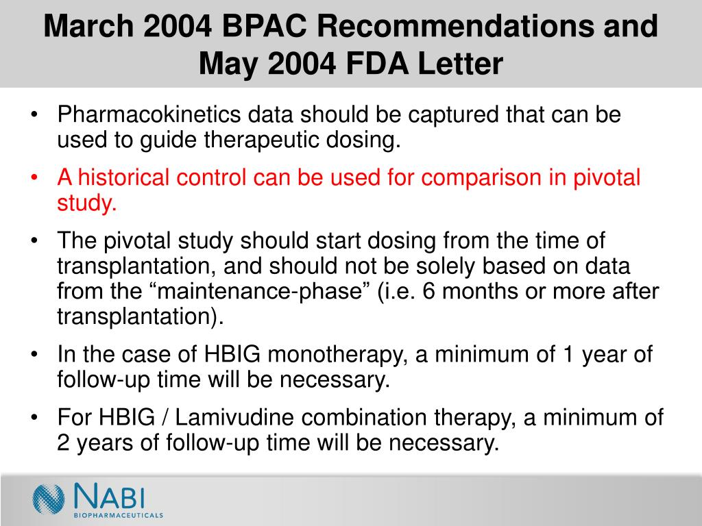 March 2004 BPAC Recommendations and