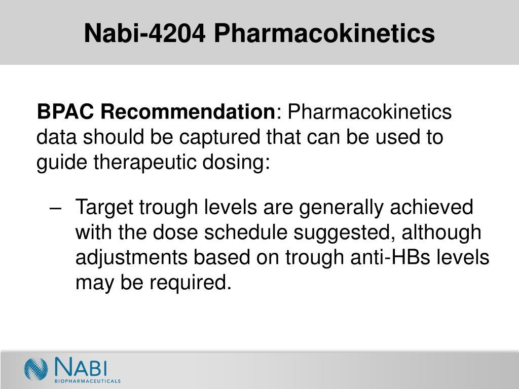 Nabi-4204 Pharmacokinetics