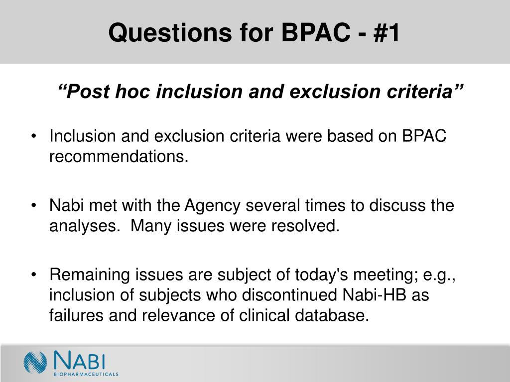 Questions for BPAC - #1