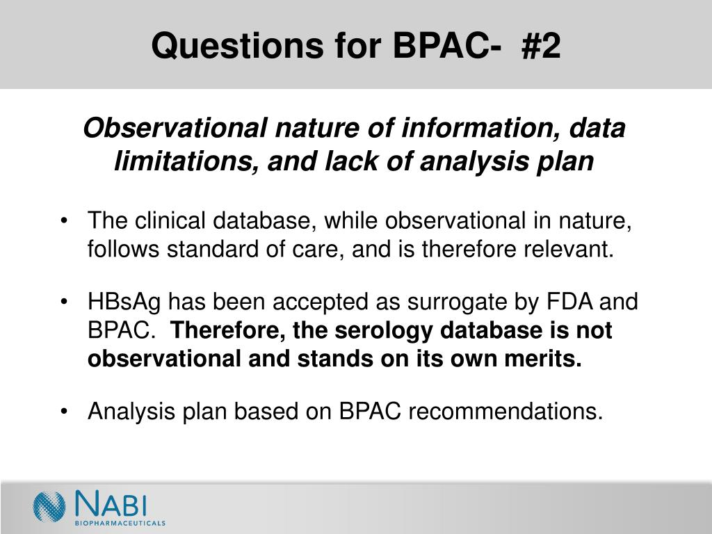 Questions for BPAC-  #2