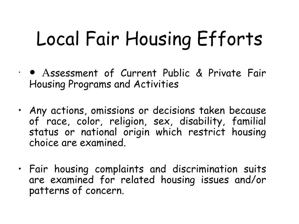Local Fair Housing Efforts