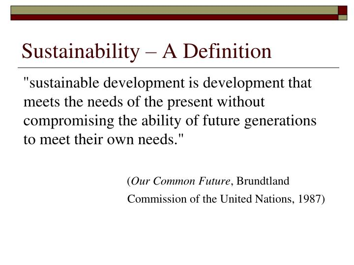 Sustainability a definition