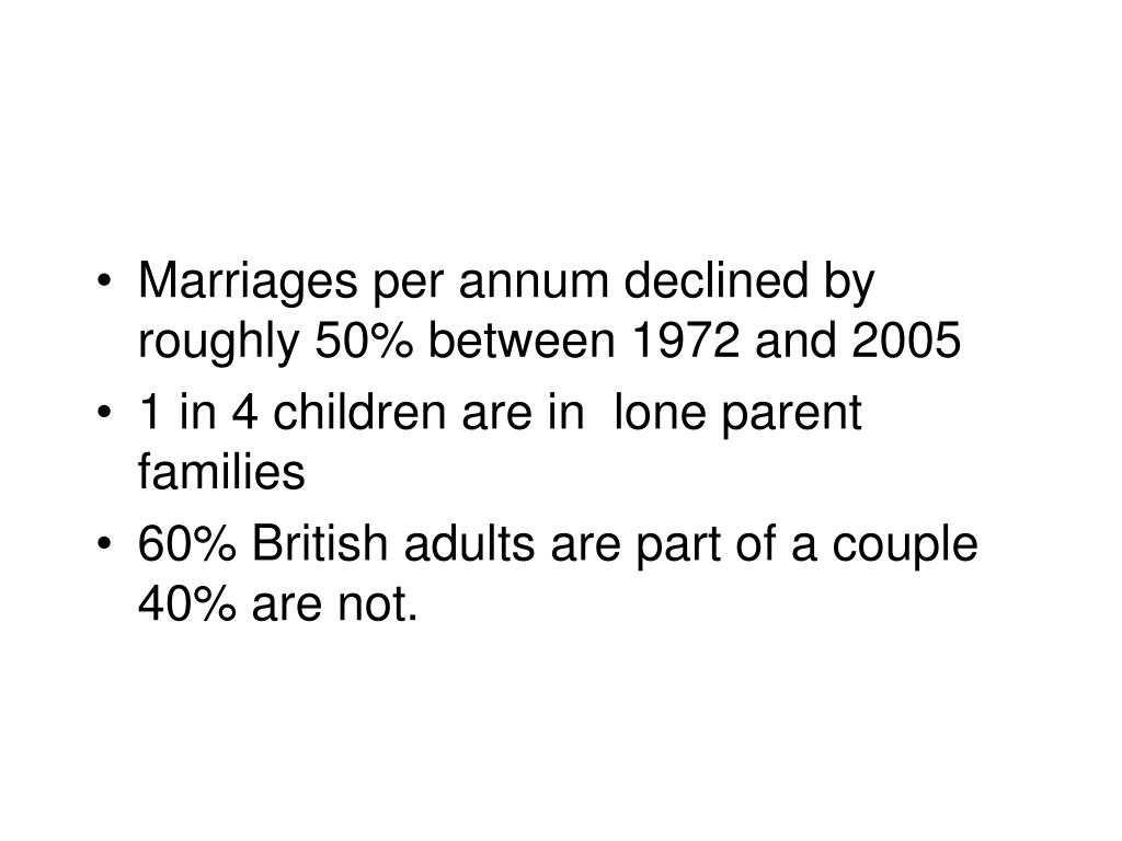 Marriages per annum declined by roughly 50% between 1972 and 2005