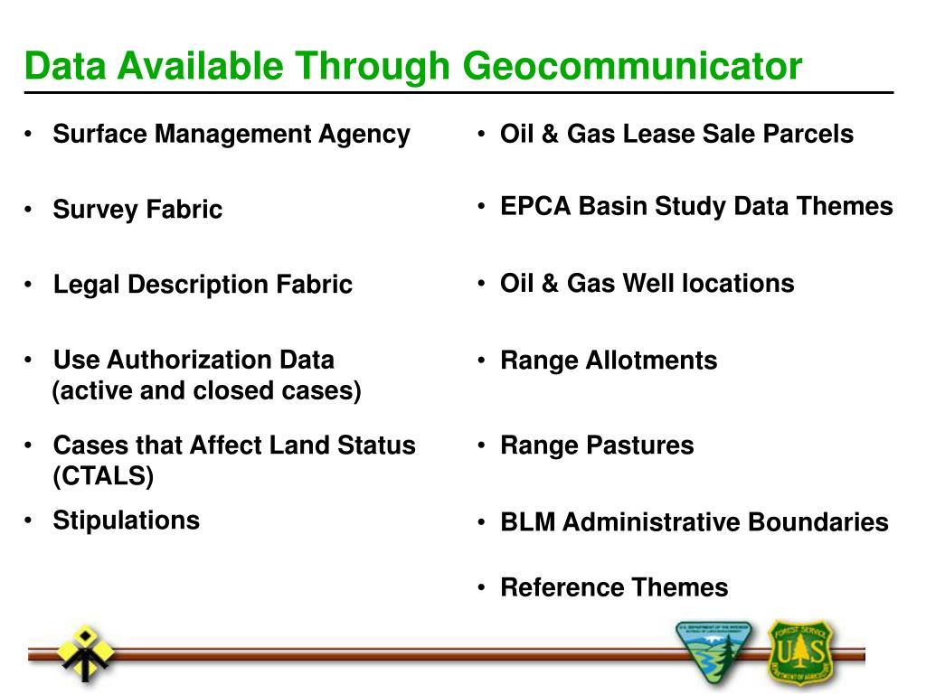 Data Available Through Geocommunicator