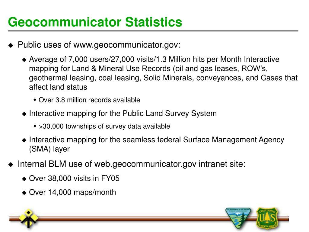 Geocommunicator Statistics
