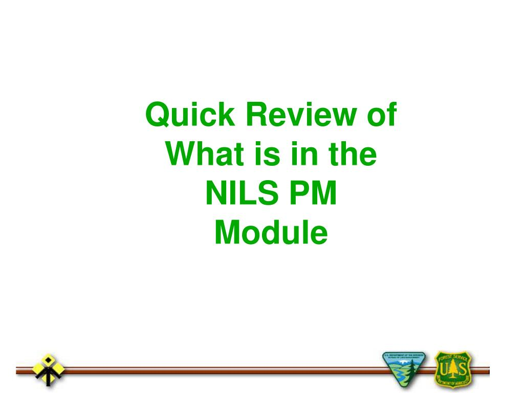 Quick Review of What is in the NILS PM