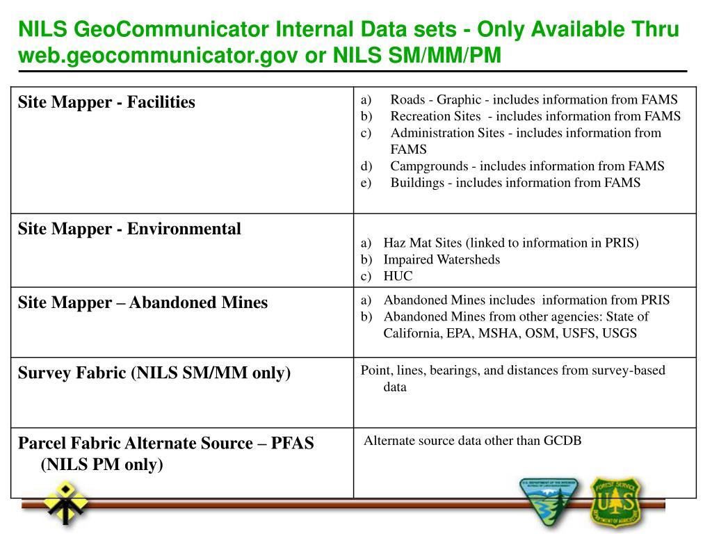 NILS GeoCommunicator Internal Data sets - Only Available Thru web.geocommunicator.gov or NILS SM/MM/PM