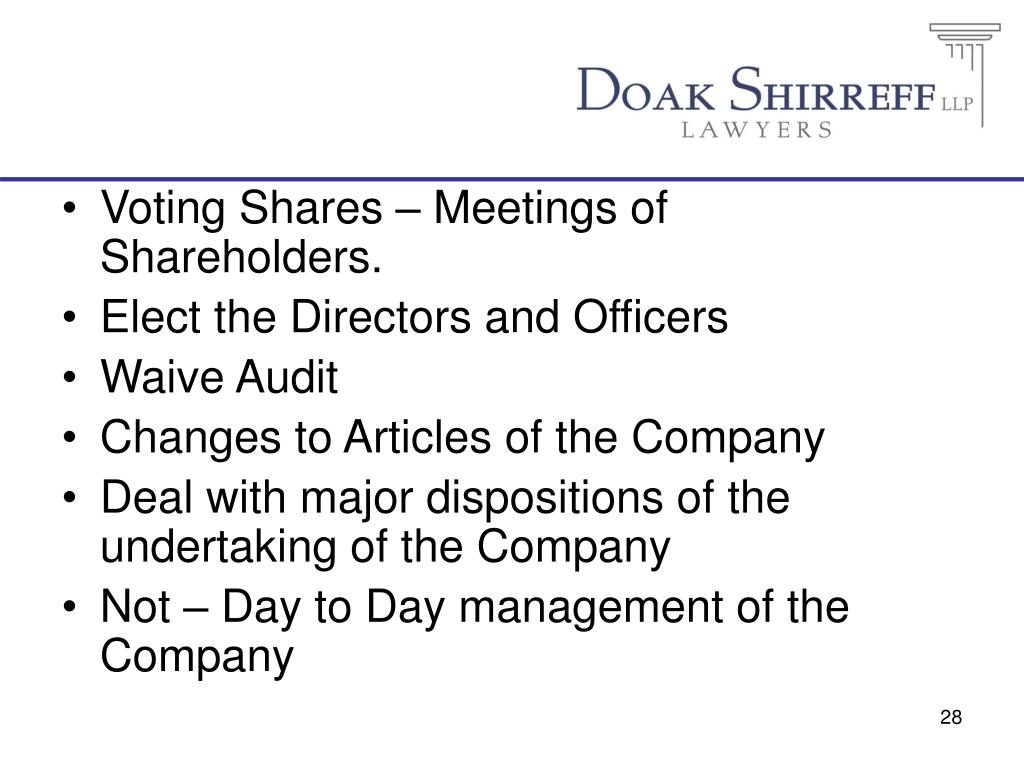 Voting Shares – Meetings of Shareholders.