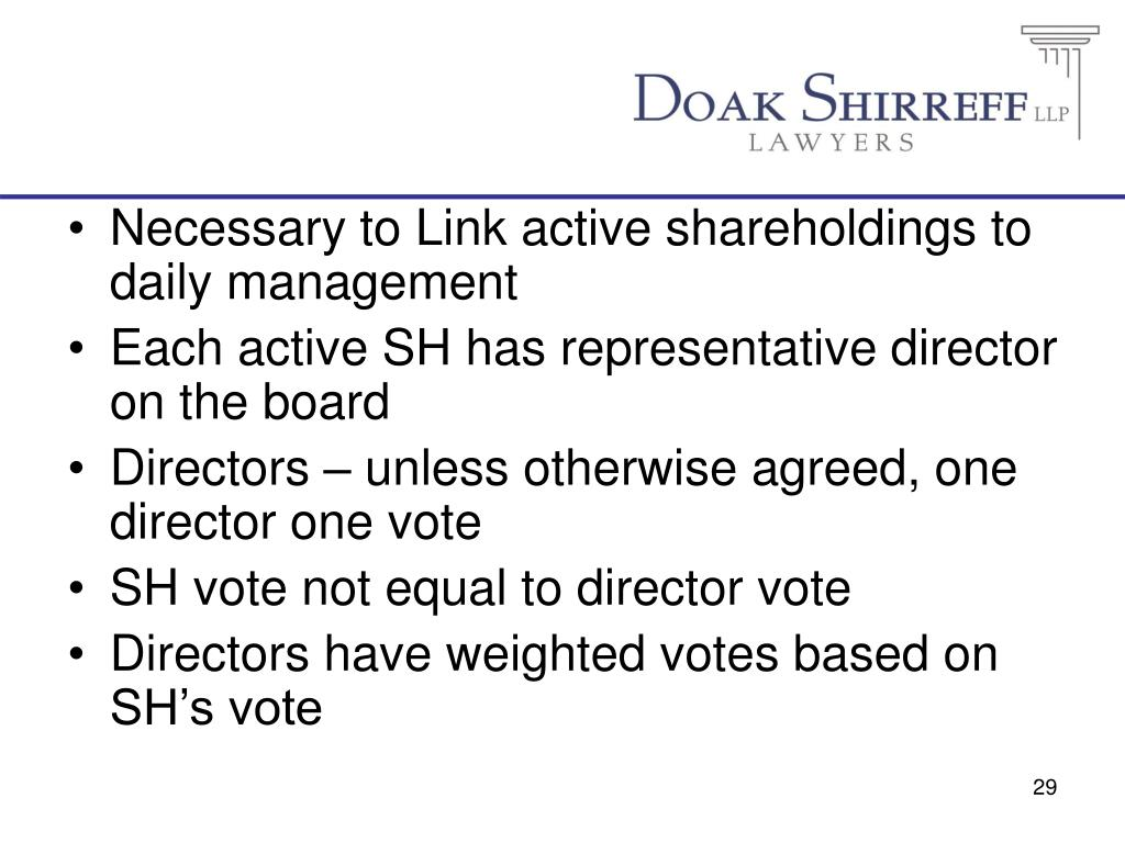 Necessary to Link active shareholdings to daily management