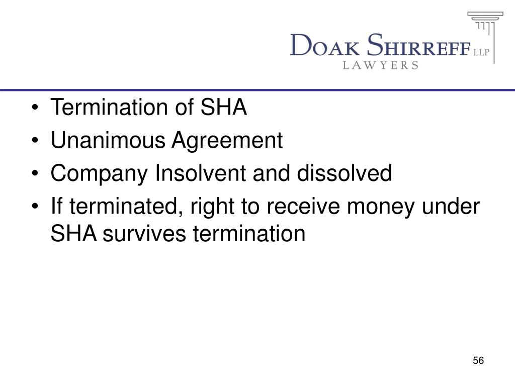 Termination of SHA