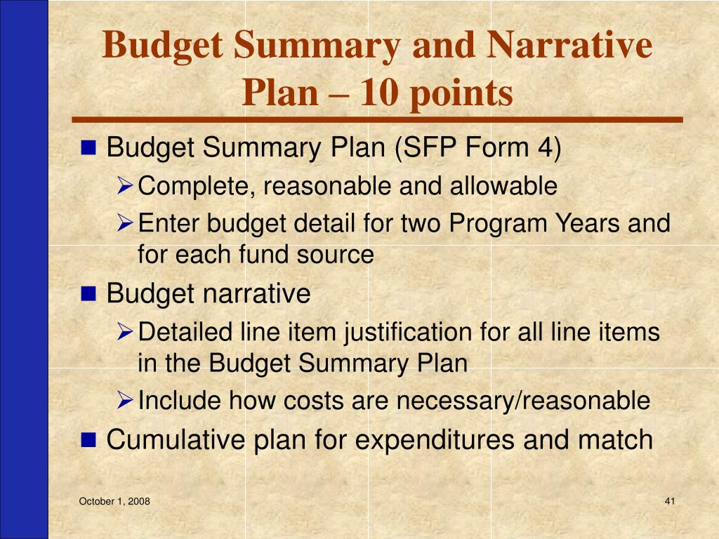 Budget Summary and Narrative Plan – 10 points