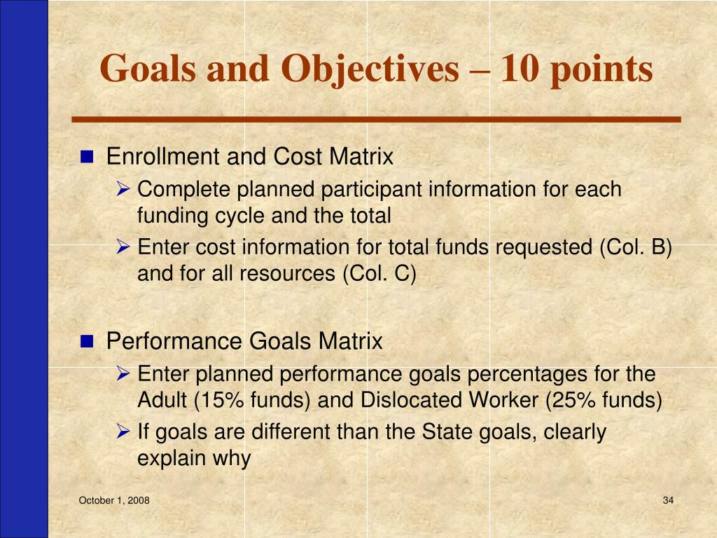 Goals and Objectives – 10 points
