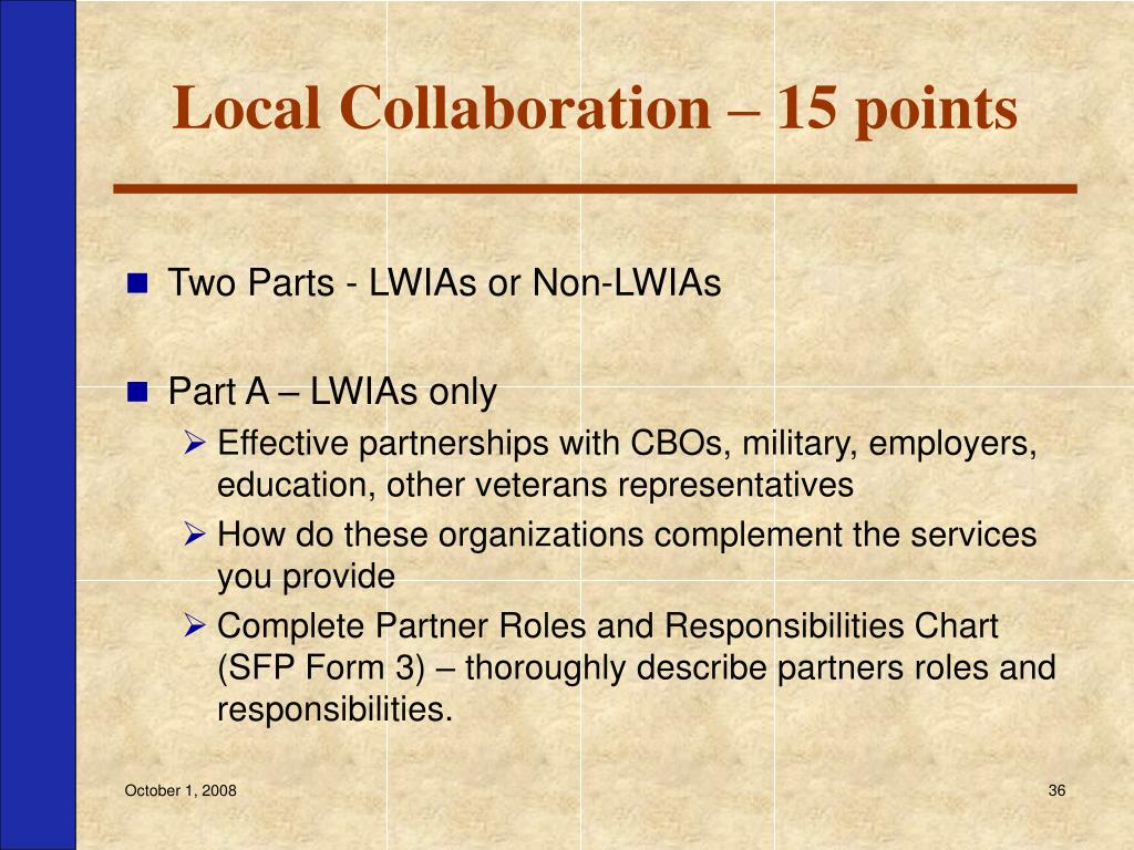 Local Collaboration – 15 points