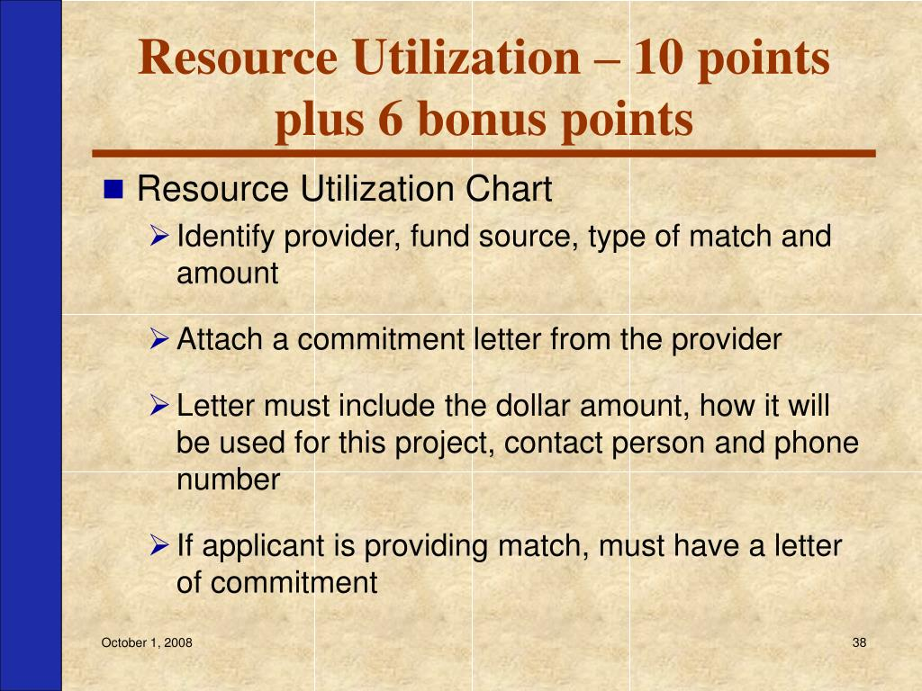 Resource Utilization – 10 points plus 6 bonus points