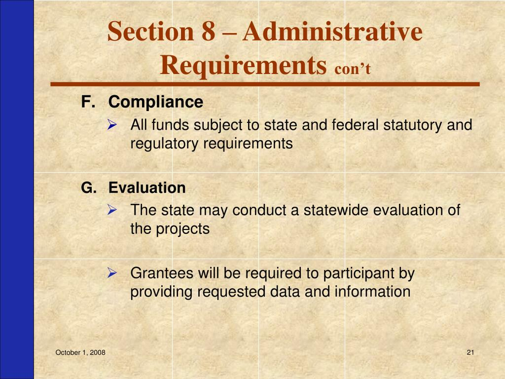 Section 8 – Administrative Requirements