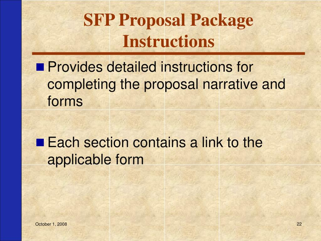 SFP Proposal Package Instructions