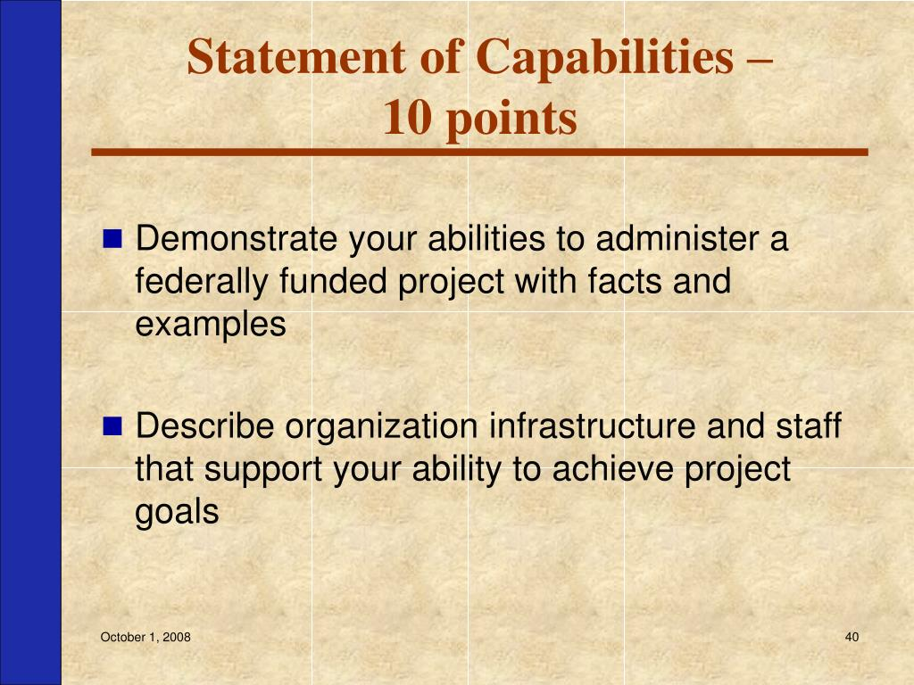 Statement of Capabilities –