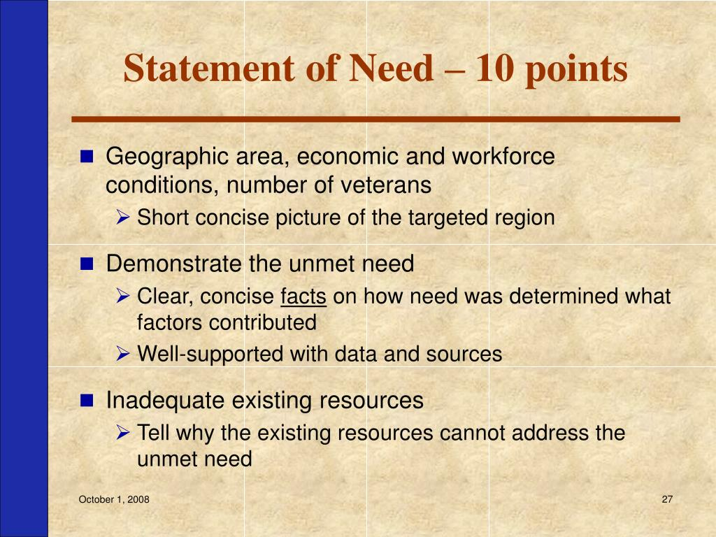 Statement of Need – 10 points