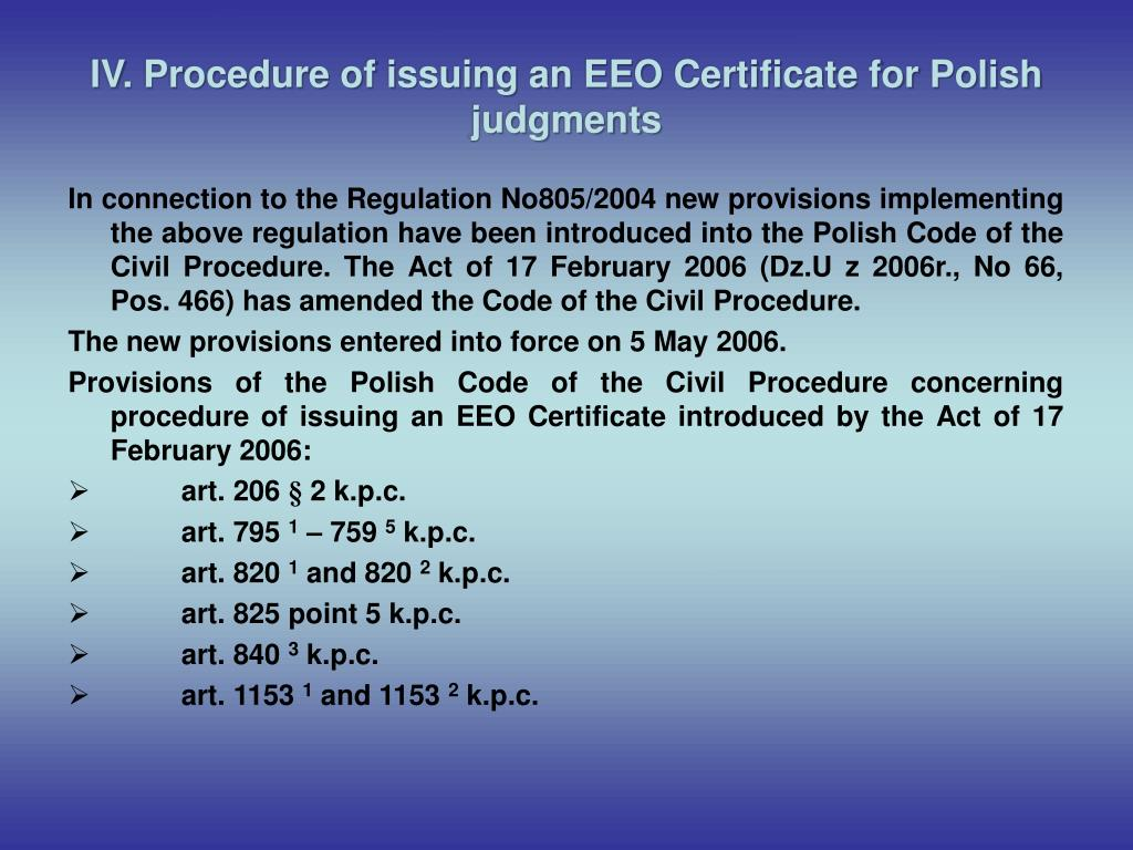 IV. Procedure of issuing an EEO Certificate for Polish judgments